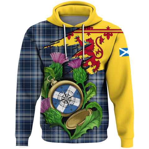 Image of 1stScotland Hoodie - Tartan Scottish Thistle Compass A24