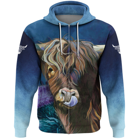 Image of 1stScotland Zip Hoodie - Highlands Cow Thistle | 1stscotland