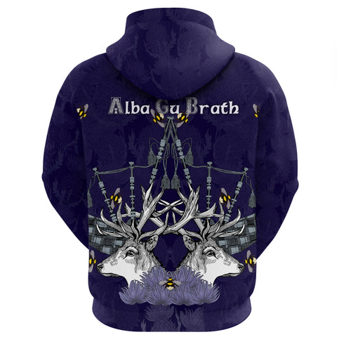 1stScotland Zip Hoodie - Red Deer Bagpipes Thistle A24