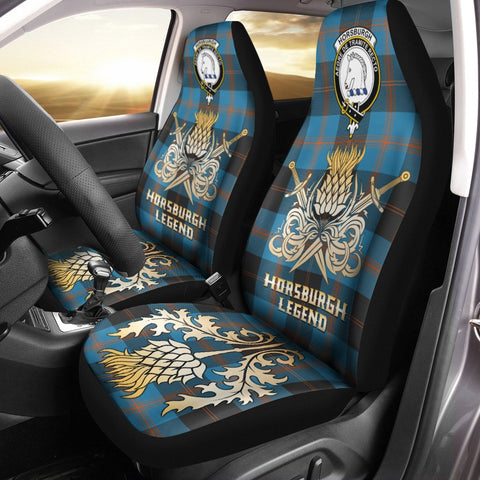 Car Seat Cover Horsburgh Clan Crest Gold Thistle Courage Symbol