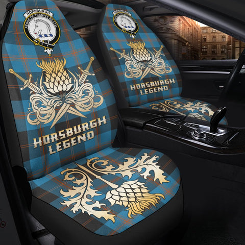 Tartan Car Seat Cover, Horsburgh Clan Crest Gold Thistle Courage Symbol Scottish Car Seat Cover A9