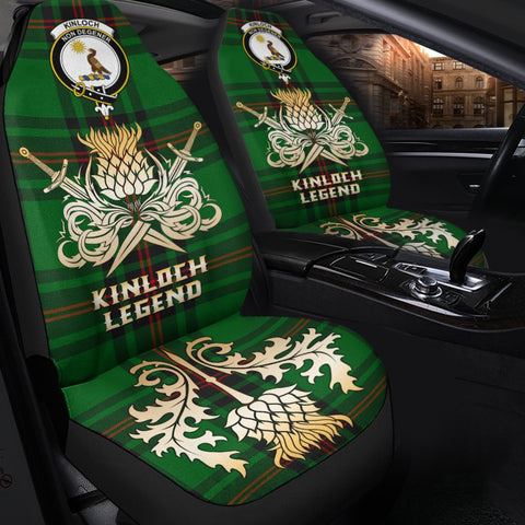 Tartan Car Seat Cover, Kinloch Clan Crest Gold Thistle Courage Symbol Scottish Car Seat Cover A9