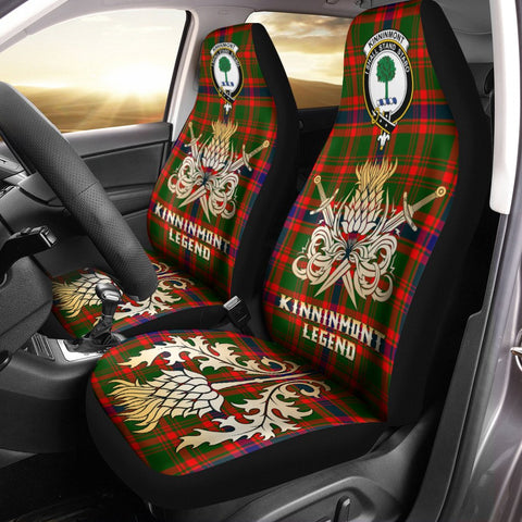 Car Seat Cover Kinninmont Clan Crest Gold Thistle Courage Symbol