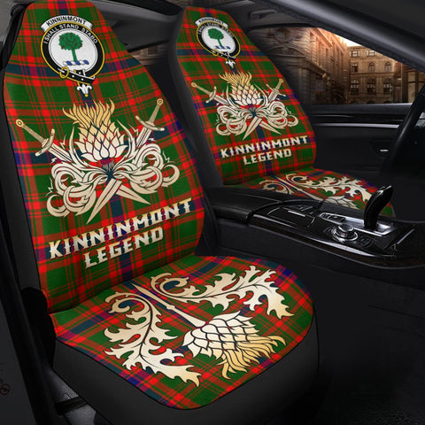 Tartan Car Seat Cover, Kinninmont Clan Crest Gold Thistle Courage Symbol Scottish Car Seat Cover A9