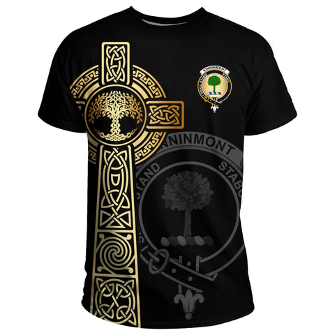 Kinninmont T-shirt Celtic Tree Of Life Clan Black Unisex A91