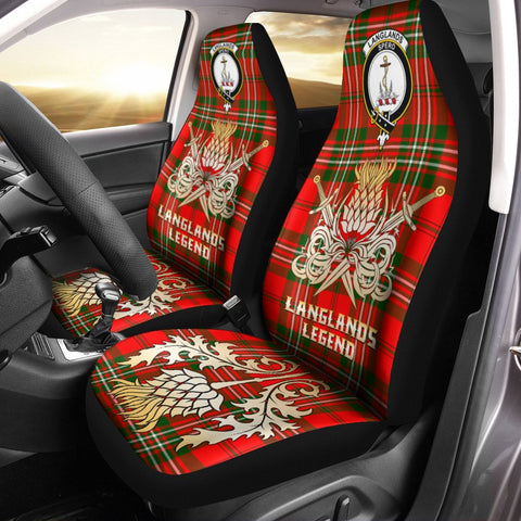 Image of Car Seat Cover Langlands Clan Crest Gold Thistle Courage Symbol