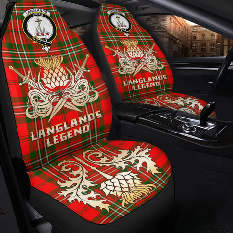Image of Tartan Car Seat Cover, Langlands Clan Crest Gold Thistle Courage Symbol Scottish Car Seat Cover A9