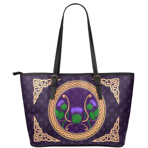 Scotland Leather Tote - Thistle Celtic Luxury Purple | Love Scotland