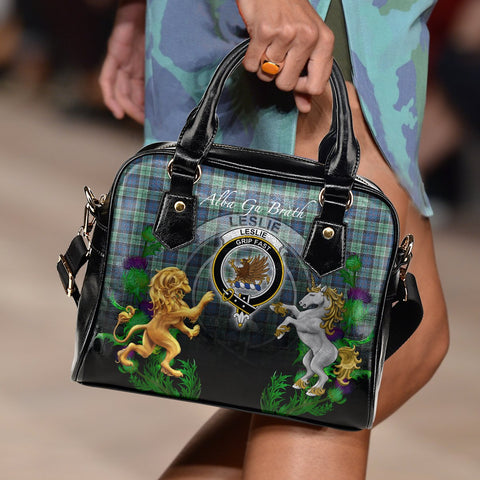 Image of Tartan Handbag, Leslie Hunting Ancient Lion Unicorn Thistle Scottish Shoulder Handbag A30