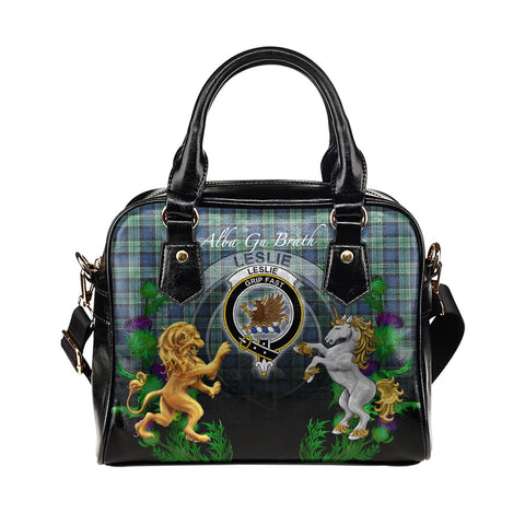 Leslie Hunting Ancient Crest Tartan Lion Unicorn Thistle Shoulder Handbag