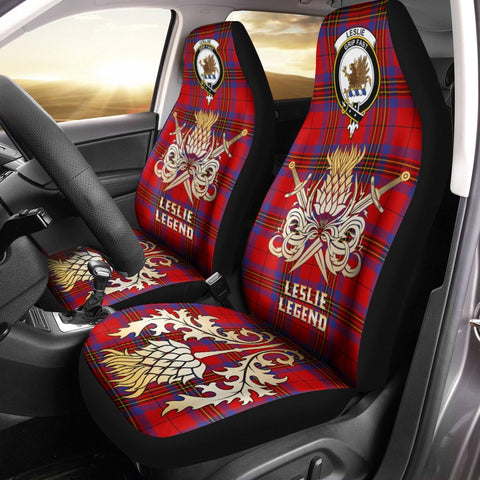 Car Seat Cover Leslie Modern Clan Crest Gold Thistle Courage Symbol