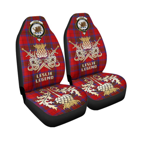 Tartan Car Seat Cover, Leslie Modern Clan Crest Gold Thistle Courage Symbol Scottish Car Seat Cover A9