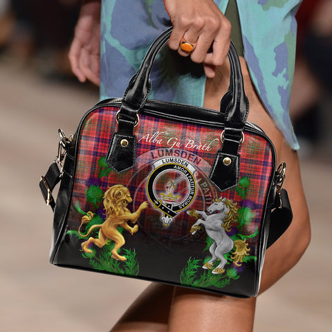 Image of Tartan Handbag, Lumsden Modern Lion Unicorn Thistle Scottish Shoulder Handbag A30