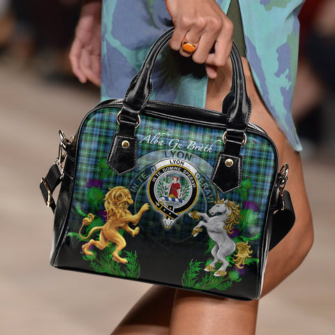 Tartan Handbag, Lyon Clan Lion Unicorn Thistle Scottish Shoulder Handbag A30
