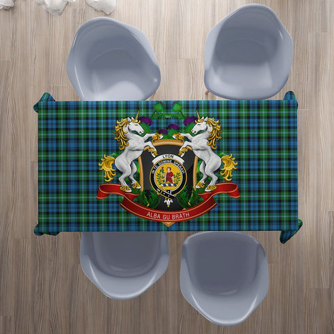 Lyon Clan Crest Tartan Tablecloth Unicorn Thistle | Home Decor
