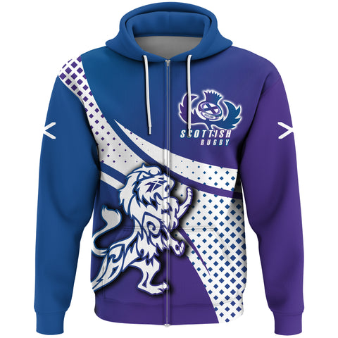 1stScotland Zip Hoodie - Scottish Rugby Thistle Rampant Lion A30
