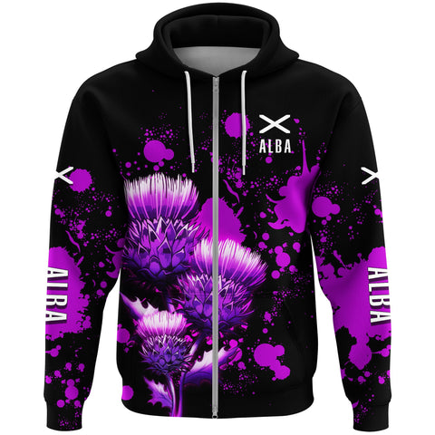 Image of 1stScotland Zip Hoodie - Thistle Alba Flag A30