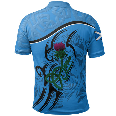 Image of Scottish Celtic Thistle and Lion Polo Shirt (Blue) | Clothing