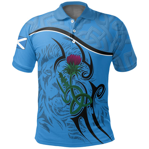 Scottish Celtic Thistle and Lion Polo Shirt (Blue) | Clothing