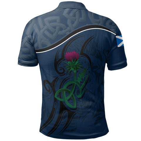 Scottish Celtic Thistle and Lion Polo Shirt (Dark Navy) | Clothing