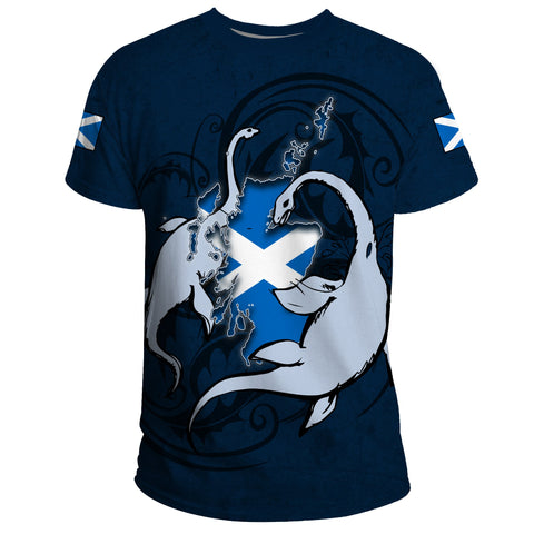 Image of Scotland T-shirt Nessie - Scottish Loch Ness Thistle Flag | High Quality | 1stScotland