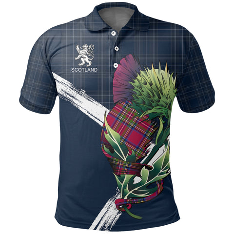 Image of Scotland Thistle Tartan Polo Shirt (Dark Blue) | Women & Men