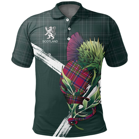 Scotland Thistle Tartan Polo Shirt (Green) | Women & Men | Clothing