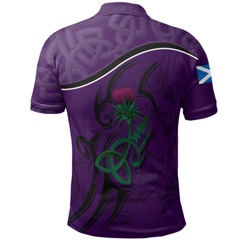 Scottish Celtic Thistle and Lion Polo Shirt (Purple) | Clothing