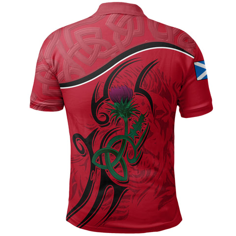 Scottish Celtic Thistle and Lion Polo Shirt (Red) | Clothing
