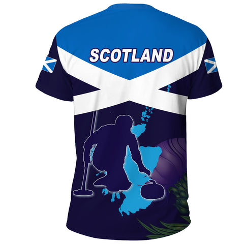 Image of Scotland T-shirt - Scottish Curling Sport Thistle Alba Gu Brath Style A10