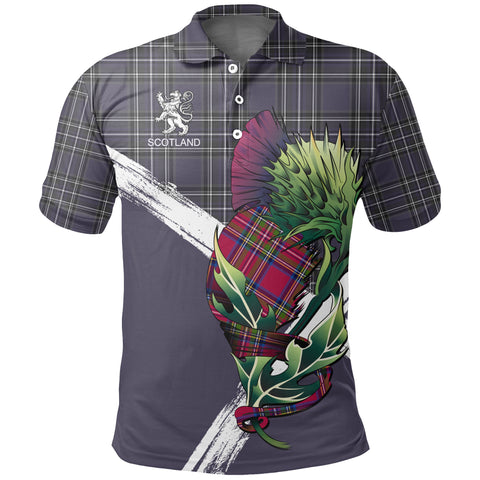 Scotland Thistle Tartan Polo Shirt (Purple) | Women & Men | Clothing