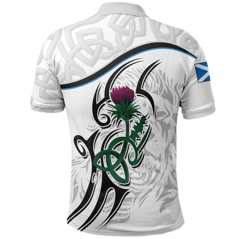 Image of Scottish Celtic Thistle and Lion Polo Shirt (White) | Clothing