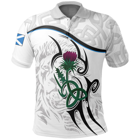 Scottish Celtic Thistle and Lion Polo Shirt (White) | Clothing