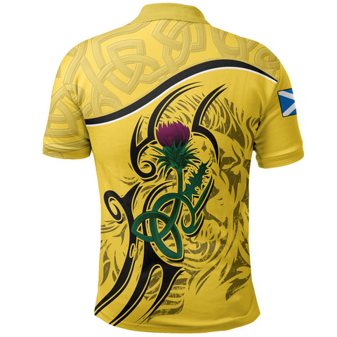 Scottish Celtic Thistle and Lion Polo Shirt (Yellow) | Clothing