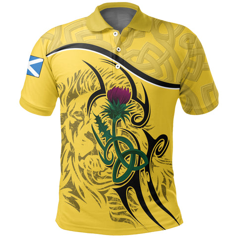 Image of Scottish Celtic Thistle and Lion Polo Shirt (Yellow) | Clothing