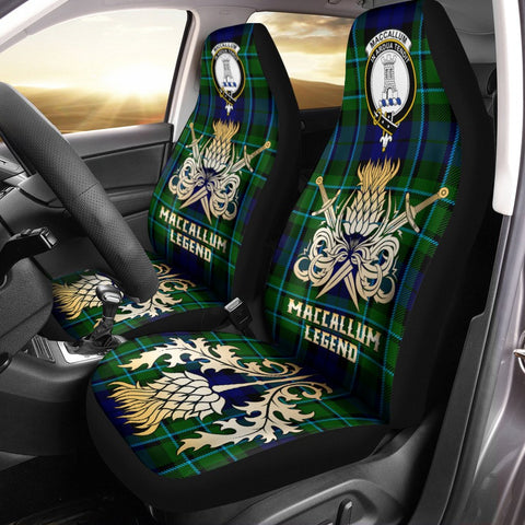 Car Seat Cover MacCallum Modern Clan Crest Gold Thistle Courage Symbol