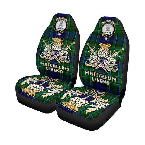 Tartan Car Seat Cover, MacCallum Modern Clan Crest Gold Thistle Courage Symbol Scottish Car Seat Cover A9