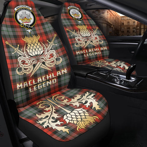 Tartan Car Seat Cover, MacLachlan Weathered Clan Crest Gold Thistle Courage Symbol Scottish Car Seat Cover A9