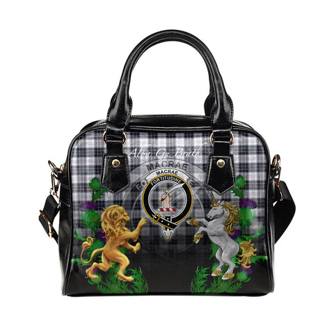 MacRae Dress Modern Crest Tartan Lion Unicorn Thistle Shoulder Handbag