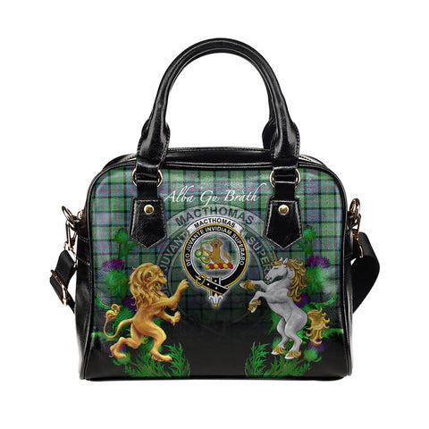 Image of MacThomas Ancient Crest Tartan Lion Unicorn Thistle Shoulder Handbag