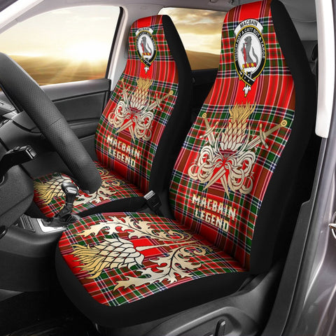 Car Seat Cover Macbain Clan Crest Gold Thistle Courage Symbol