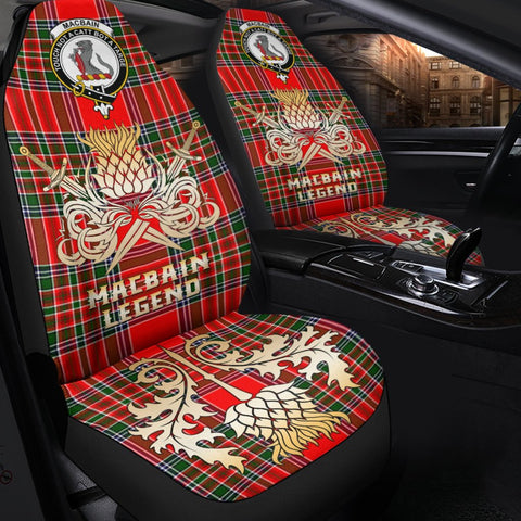 Image of Tartan Car Seat Cover, Macbain Clan Crest Gold Thistle Courage Symbol Scottish Car Seat Cover A9