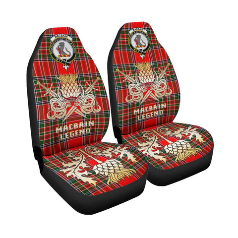 Tartan Car Seat Cover, Macbain Clan Crest Gold Thistle Courage Symbol Scottish Car Seat Cover A9