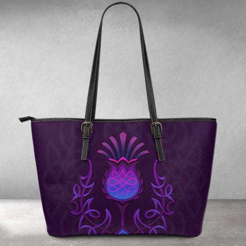 1stScotland Leather Tote - Scottish Purple Celtic Thistle A02