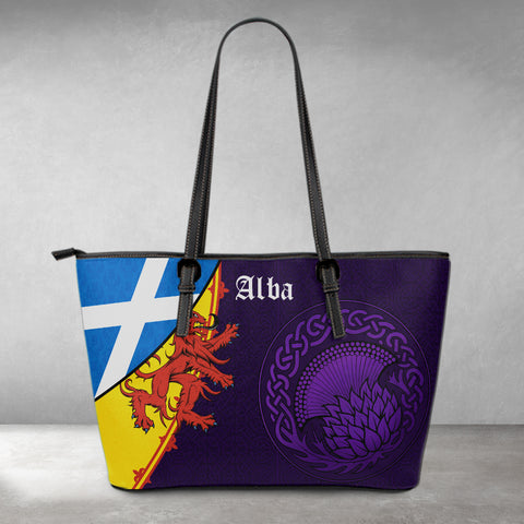 1stScotland Leather Tote - Thistle Celtic, Scotland Coat Of Arms and Flag | 1stScotland