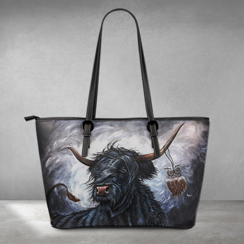 1stScotland Leather Tote - Highland Cow Dream Catcher Painting | 1stScotland