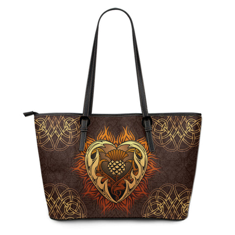 Scotland Large Leather Tote - Tribal Thistle Celtic A24