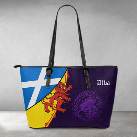 1stScotland Large Leather Tote - Thistle Celtic, Scotland Coat Of Arms and Flag | 1stScotland