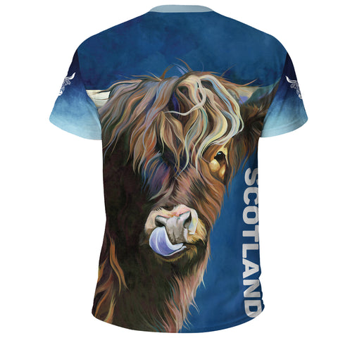 Image of Scotland T-shirt Highlands Cow Thistle A14