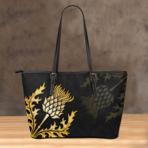 (Custom) Scotland Leather Tote Thistle Gold Special Personal Signature A24